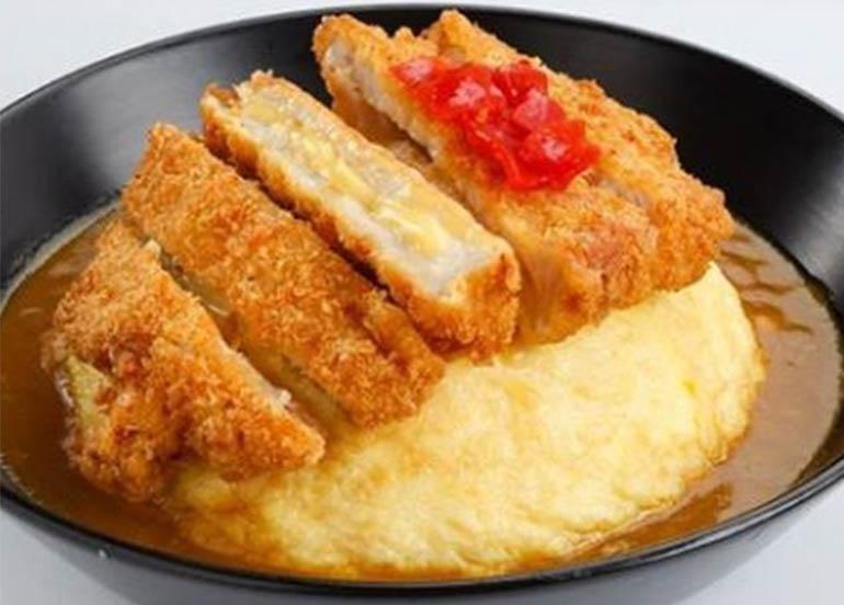 Curry Cheese Katsu with steam Japanese Koshihikari Rice and a fluffy egg omelette dome from Osaka Osho
