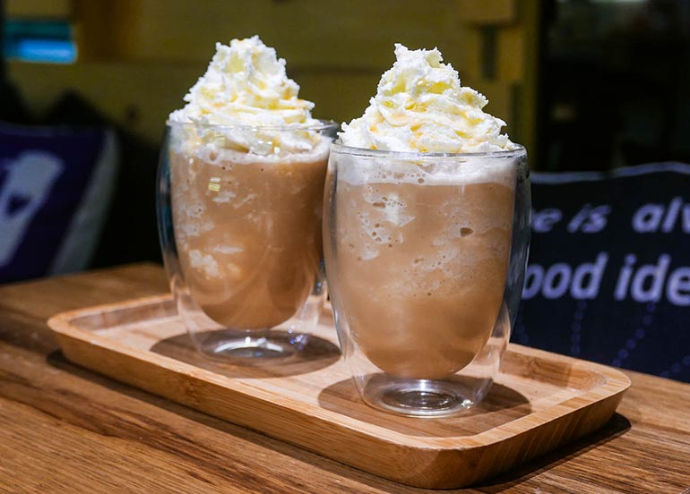 White Chocolate Mocha Ice Blended Drink from Dark Specialty Coffee