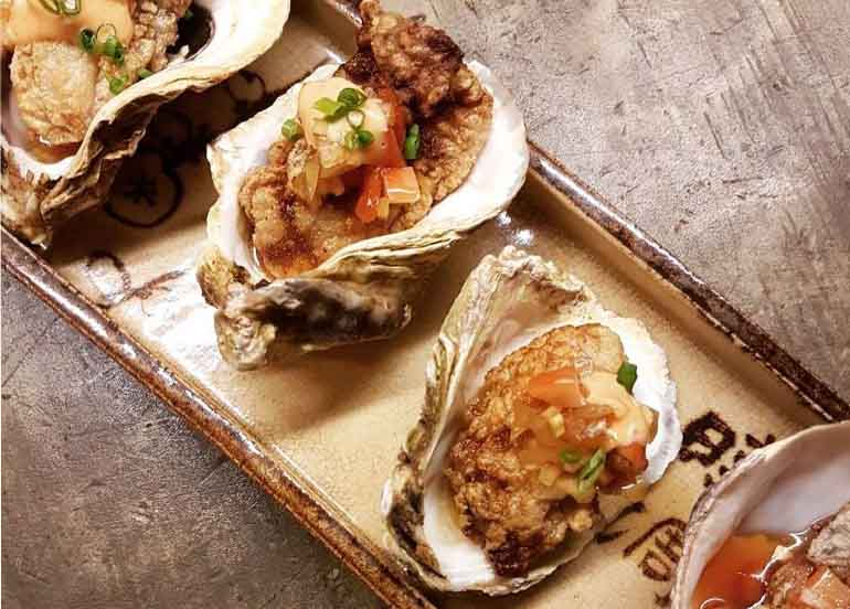 Pan Fried Japanese Oysters from Sensei