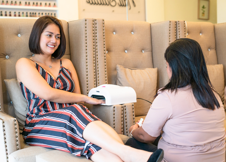 Nail Studio Lounge Client with FlexiGel Extensions
