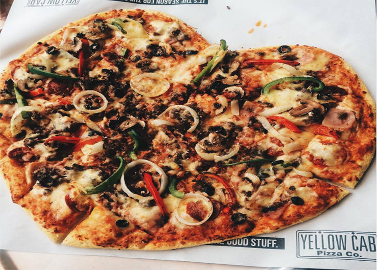 Heart-shaped New York's Finest Pizza from Yellow Cab