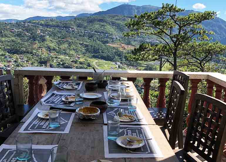 Foggy Mountain Cookhouse Dining Area and View of Baguio
