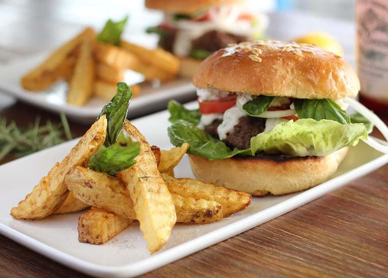 Greek Burgers and Fries from Lemon and Olives