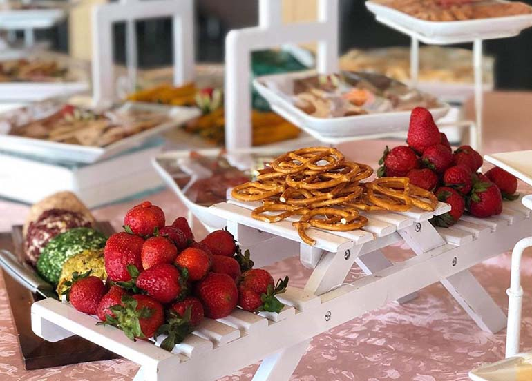 Strawberries and Pretzels from the Snacks Buffet of Sage