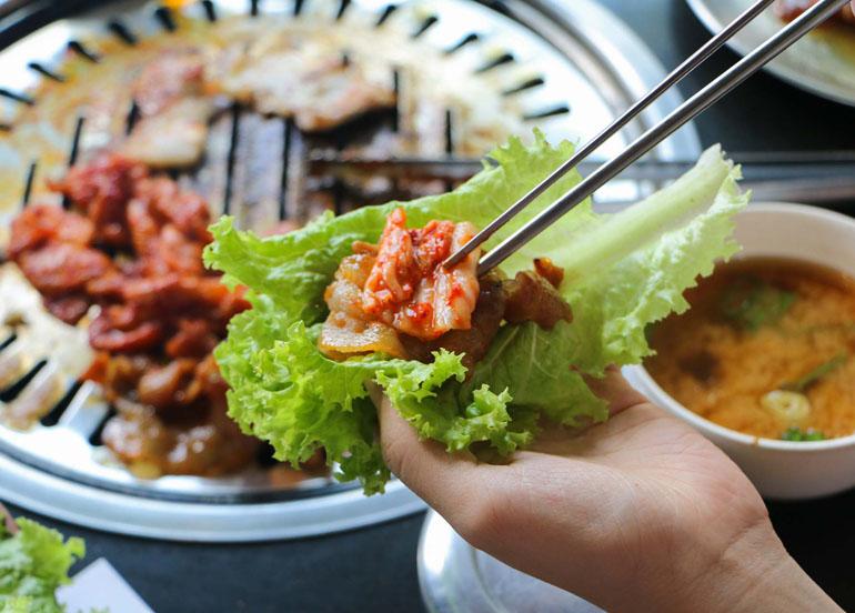 Kimchi in a lettuce wrap
