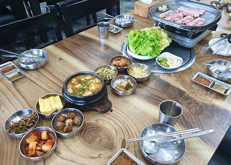 KBBQ and Banchan from Da Rae Jung Korean Kitchen and Restaurant