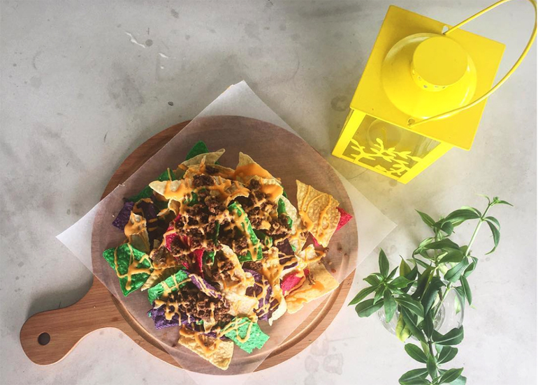 Colored Nachos from Yellow Lantern Cafe