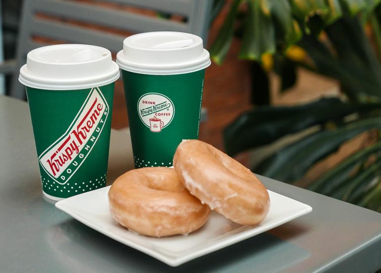 Krispy Kreme Original Glazed Donuts with Coffee cups