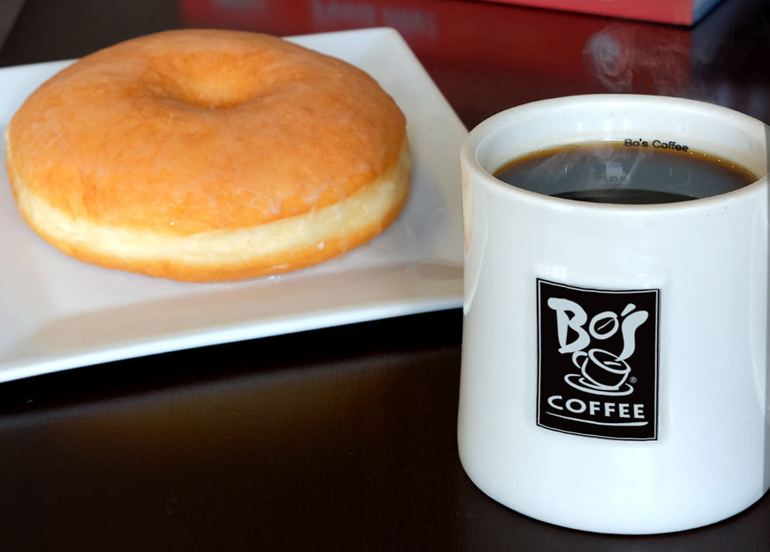 Bo's Coffee paired with a doughnut