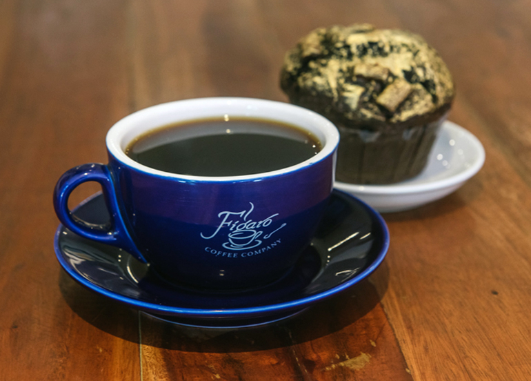Cup of coffee from Figaro with a chocolate muffin