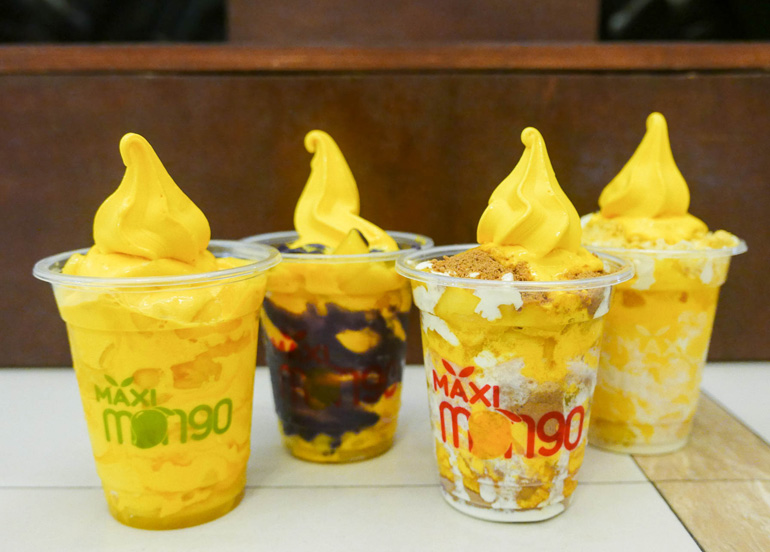 Maxi Mango assortment of mango soft-serve desserts